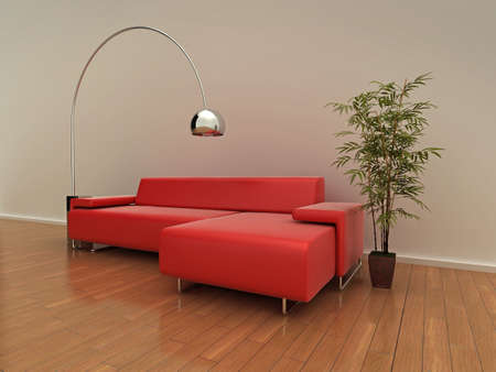 Illustration of a modern red sofa, lamp, and plant on a shiny wooden floor. illustration