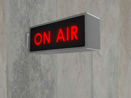 on air sign: Illustration of an On Air sign, with illuminated red text. Sign is mounted on a concrete wall - also available isolated on white.