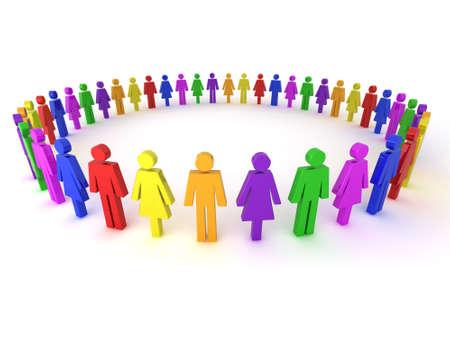 diversidad cultural: Ilustraci�n de un grupo de personas de varios colores para representar la diversidad, la sociedad multicultural, la uni�n del trabajo en equipo y muchos m�s. Foto de archivo