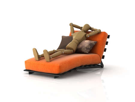 artists mannequin: 3D illustration of an artists mannequin relaxing on a chaise longue. Stock Photo