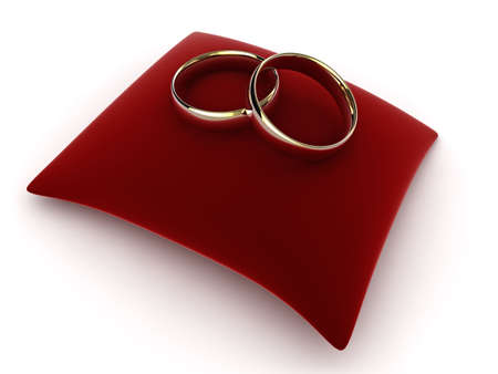 High quality illustration of a pair of wedding rings on a velvet cushion. illustration