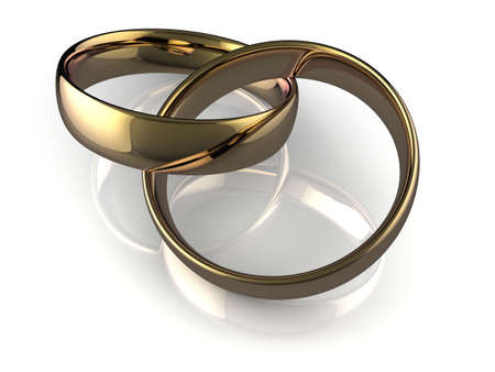 High quality illustration of a pair of gold wedding rings interlinked to represent marriage. illustration