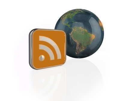 Computer generated illustration of an 3D RSS feed symbol transmitting to glossy earth. illustration