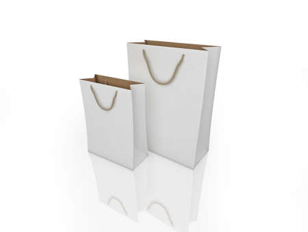 reflective: Realistic illustration of shopping bags isolated on white on a shiny, reflective surface.