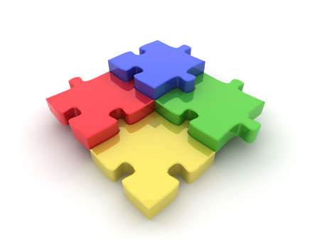 Coloured (Colored) jigsaw illustration. High quality computer generated 3D illustration of a jigsaw puzzle to represent various concepts such as teamwork, choices, diversity and individuality. illustration