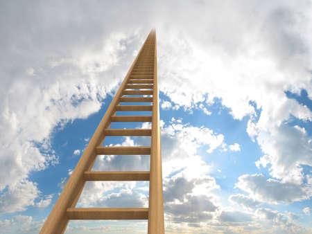 escaleras: Extremadamente larga escalera que conducen al cielo. La imagen generada por ordenador que podr�a ser utilizado para representar las aspiraciones, un viaje, carreras, ambici�n o ir al cielo. Foto de archivo