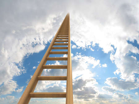 stairway to heaven: Extremely long ladder leading up to the sky. Computer generated image which could be used to represent aspirations, a journey, careers, ambition or going to heaven.