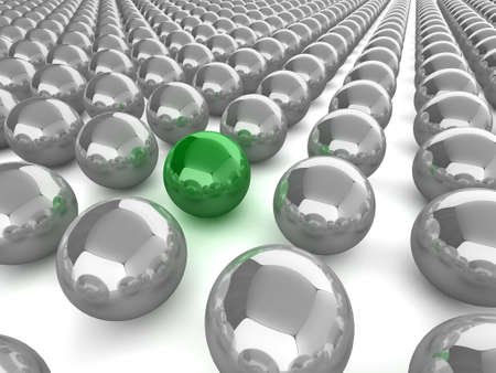 Abstract illustration of glossy spheres, one green sphere stands out from the crowd illustration