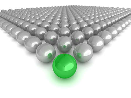 sphere standing: Abstract illustration of glossy spheres with a single green leader, or winner in the centre.