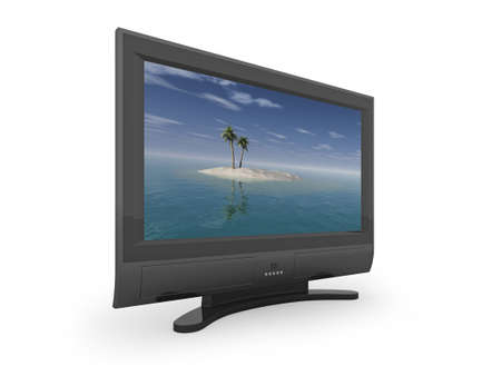 Flat screen TV showing image of desert island. Please see my portfolio for variations, and full size desert island image. photo