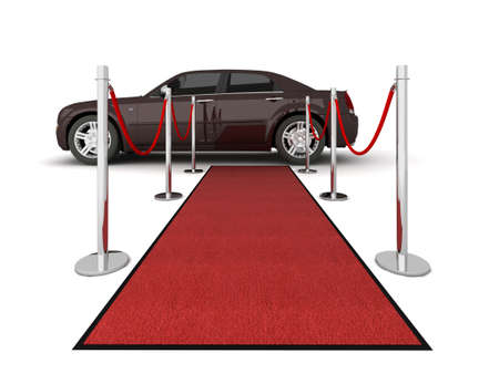Illustration of a VIP red carpet leading with waiting limousine. Isolated on white. Please see my portfolio for other views. illustration