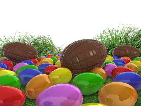 Realistic illustration of colourful (colorful), glossy easter eggs, and chocolate eggs in grass, with white copy space. illustration