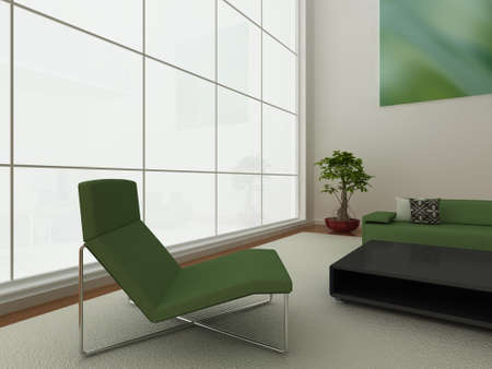 Illustration of a modern living area with large window, and stylish furniture. Stock Photo