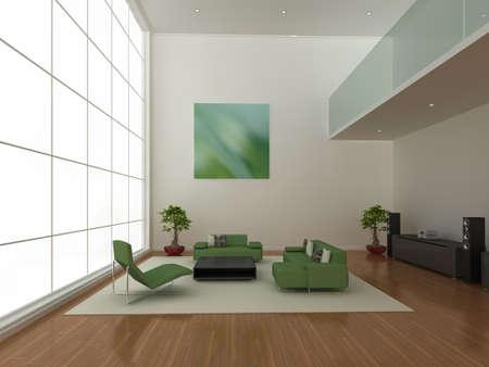 High quality 3d illustration of a large, modern living area. Stock Illustration - 5460944