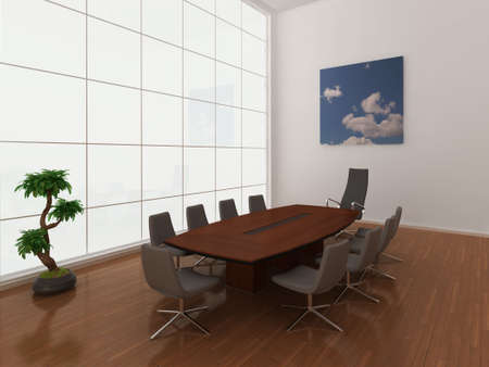 High quality illustration of a modern, minimal boardroom or meeting room with extra large window. Stock Illustration - 5460917