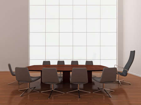 High quality illustration of a large modern boardroom, or meeting room with large window. Stock Illustration - 5460922
