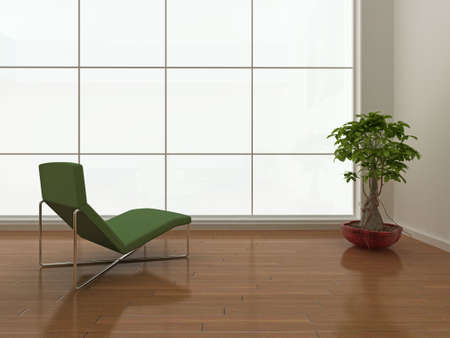 High quality illustration of a minimal interior with large blank window. illustration