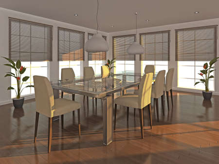High quality illustration of a dining room interior in the early evening. illustration