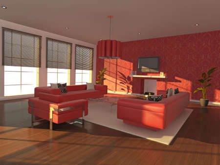 High quality illustration of a warm, modern interior in the early evening. illustration
