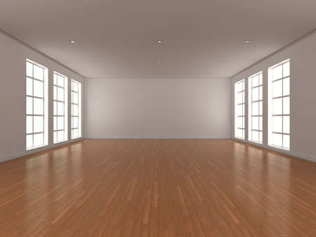 either: 3d illustration of a large, bright, empty room with windows either side.