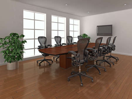 High quality 3d illustration of a bright, modern meeting room, or boardroom. illustration