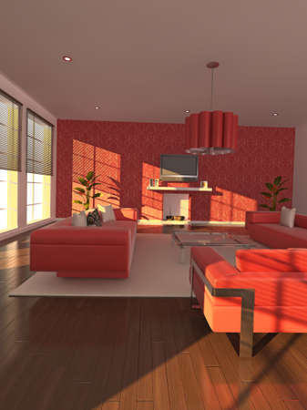 High quality illustration of a warm, modern living area in the early evening. Stock Illustration - 5460940