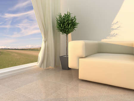 High quality 3d illustration of a neutral, modern interior in the early evening. illustration