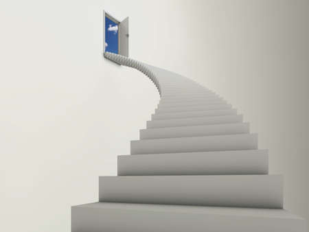 Illustration of a long stairway leading to an open door, with blue sky and clouds behind. illustration