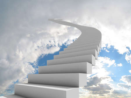 steps to success: Illustration of a long, winding stairway leading to the clouds. Could represent a career, success, a journey, or going to heaven.