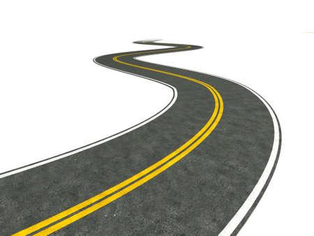 距離に消える長く、曲がりくねった道のイラスト。