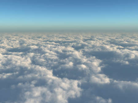 High quality, realistic illustration of a far reaching view above the clouds Stock Photo