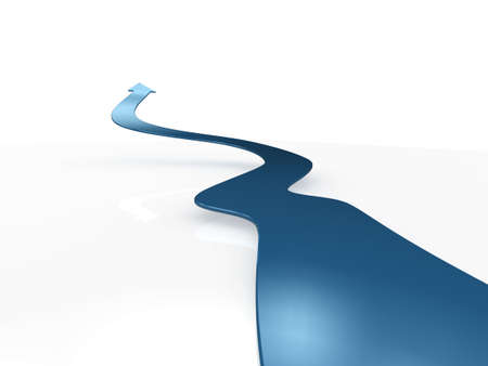 long distance: 3d Illustration of a long winding arrow leading into the distance. Stock Photo