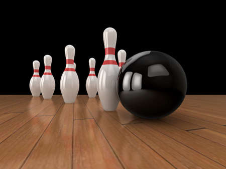 sphere standing: High quality illustration of a bowling ball about to hit the pins.