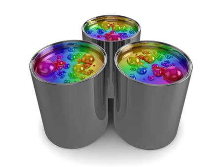 Realistic illustration of 3 tins of bubbling rainbow paint illustration
