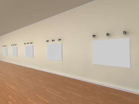 3d illustration of a gallery of blank canvases - ready for your own artwork or designs. illustration