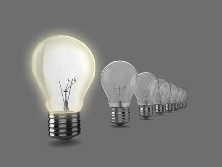 Realistic 3d illustration of a row of light bulbs, the nearest to the camera is on. Could be used to represent an idea, inspiration, or environment issues. Stock Illustration - 5549190
