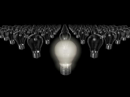 Realistic 3d illustration of rows of light bulbs, the nearest to the camera is switched on. Could be used to represent an idea, inspiration, or environment issues. Stock Illustration - 5549174