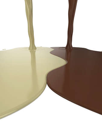High quality illustration of glossy milk, and white chocolate pouring onto a white surface illustration