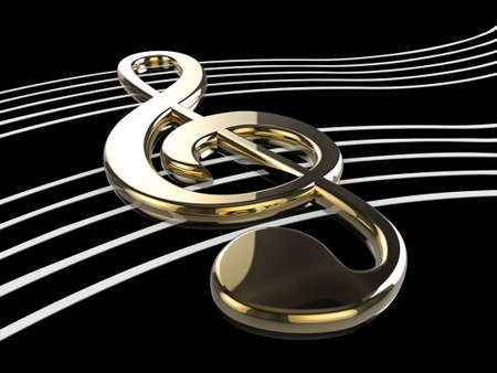 High quality illustration of a musical G Clef or Treble Clef symbol illustration