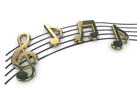 High quality illustration of gold musical notes and a treble clef symbol
