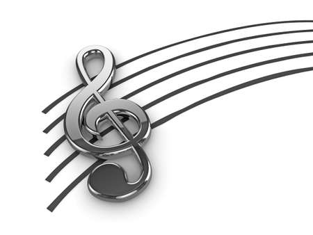 treble clef: High quality illustration of a silver musical G Clef or Treble Clef symbol