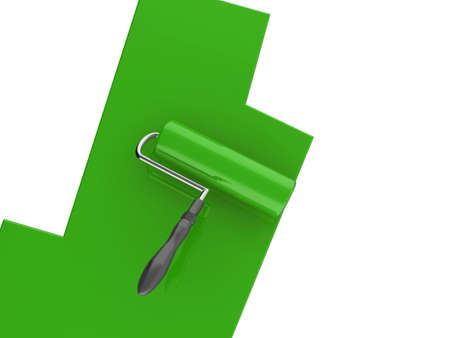 High quality illustration of a green paint roller, isolated on a white background Stock Illustration - 5549145