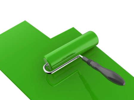 High quality illustration of a green paint roller, isolated on a white background illustration