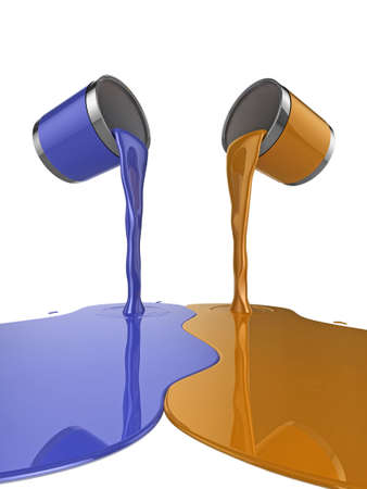 messy paint: High quality illustration of a pair of paint cans pouring glossy paint onto the floor