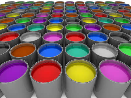 paintjob: 3d illustration of rows of multi-color paint cans