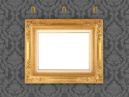 dirty room: Decorative picture frame and retro wallpaper, with blank space for your own artwork, design or text.