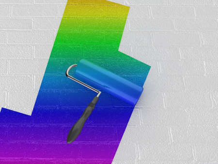 High quality illustration of a rainbow paint roller painting a white wall illustration