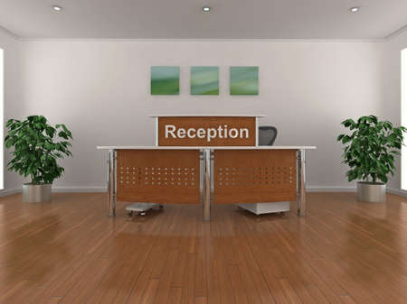 reception room: High quality 3d illustration of a reception area.
