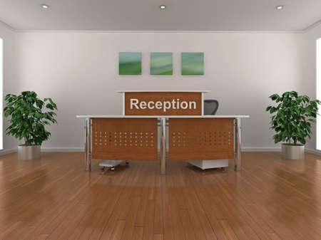Hoogwaardige 3D-afbeelding van een receptie ruimte.