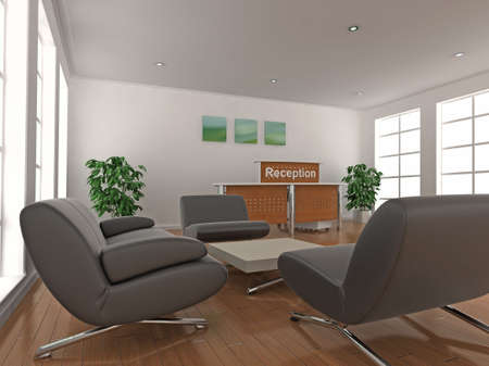 3d illustration of a reception desk and waiting area seating. illustration